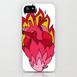 flaming love heart pink heart flames iPhone Case