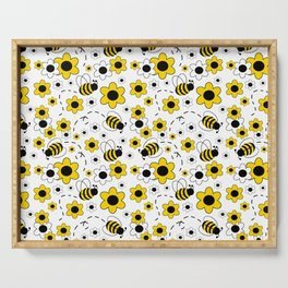 Honey Bumble Bee Yellow Floral Pattern Serving Tray