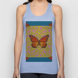 Teal Color Orange Monarch Butterflies Celtic Coral Art Unisex Tank Top