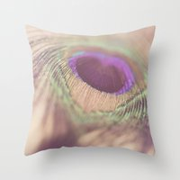 peacock feather Throw Pillows featuring Peacock Feather by Jessica Torres Photography