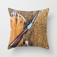 winchester Throw Pillows featuring Winchester Rifle by Captive Images Photography