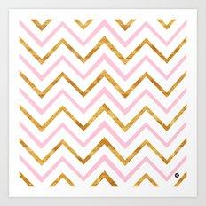 Gold and pink geometric pattern Art Print