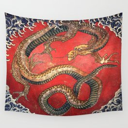 Dragon by Hokusai Wall Tapestry
