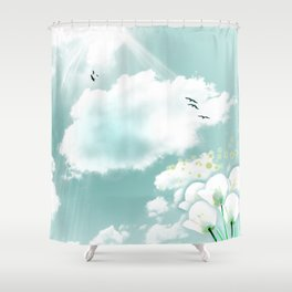 look at the sky Shower Curtain