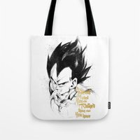 dragonball z Tote Bags featuring Dragonball Z - Pride by Straife01