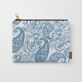 Blue ethnic ornate floral paisley pattern Carry-All Pouch
