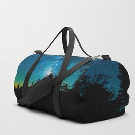 Blue White Milky Way Galaxy At Night Stars At Night Black Trees Silhouette Duffle Bag