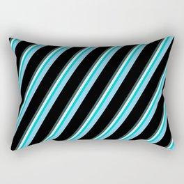 Vibrant Dark Slate Gray, Light Cyan, Dark Turquoise, Sky Blue, and Black Colored Lines Pattern Rectangular Pillow