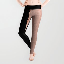 Rose metallic striping - marble and onyx Leggings
