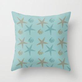 Starfish and Shells Throw Pillow