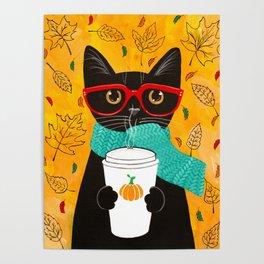 Autumn Black Coffee Cat Poster