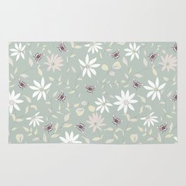 Bee and Floral Mint Rug