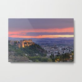 The alhambra and Granada city at sunset Metal Print