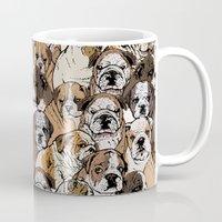 english bulldog Mugs featuring Social English Bulldog by Huebucket