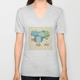 Animals flying in blimps and balloon Unisex V-Neck