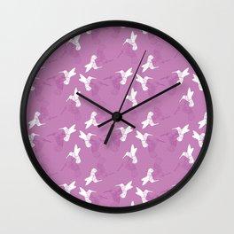 Humming Bird Pink Wall Clock