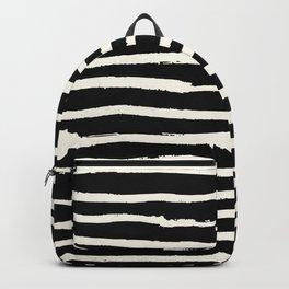 Hand Drawn Stripes on Black Backpack