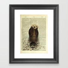 Otter in Love Framed Art Print