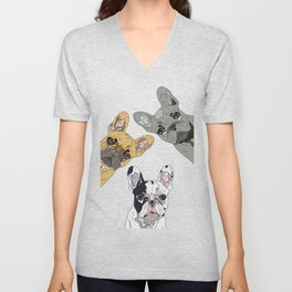Triple Frenchies Unisex V-Neck