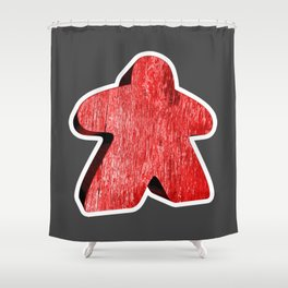 Giant Red Meeple Shower Curtain