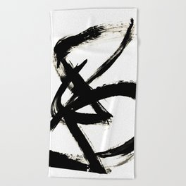 Brushstroke 3 - a simple black and white ink design Beach Towel