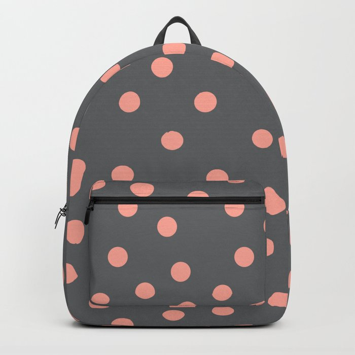 Simply Dots Salmon Pink on Storm Gray Backpack