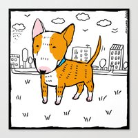 bull terrier Canvas Prints featuring bull terrier by Ellizavetta