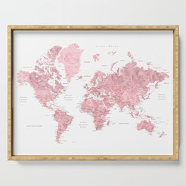 Light pink, muted pink and dusty pink watercolor world map with cities Serving Tray