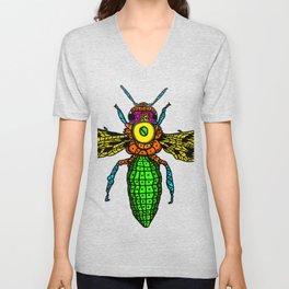 Bee in Flight Colorful thrives intelligent Unisex V-Neck
