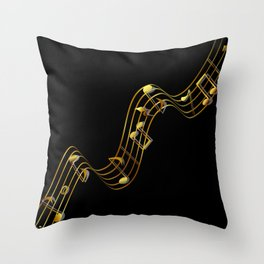 Golden Music Notes Throw Pillow