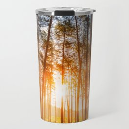 sunset behind trees in forest landscape - nature photography Travel Mug