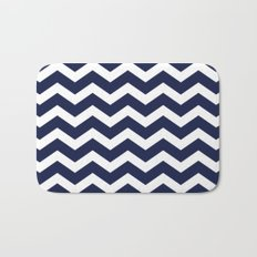 Chevron Navy Blue Bath Mat