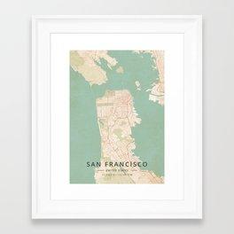 San Francisco, United States - Vintage Map Framed Art Print
