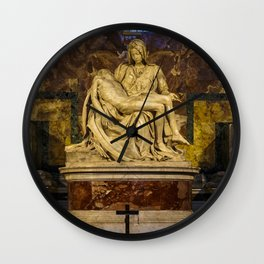 La Pieta Sculpted by Michelangelo photographed at St-Peter's Basilica Wall Clock