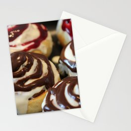 Homemade baking. Buns with currant cream. Stationery Cards