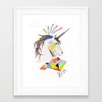 unicorn Framed Art Prints featuring Unicorn by Belén Segarra
