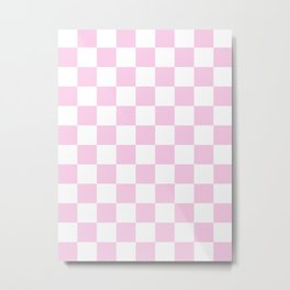 Checkered - White and Classic Rose Pink Metal Print