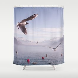 Seagulls And Bread Shower Curtain
