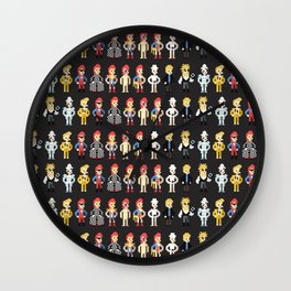 Bowie pixel characters Wall Clock