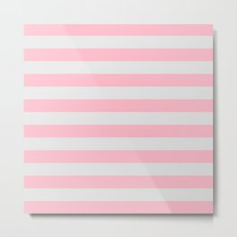 Pink & Gray Stripes Metal Print