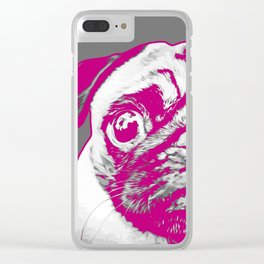 Sweet pug in pink and gray. Pop art style portrait. Clear iPhone Case