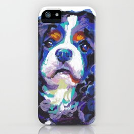 Tri-color Cavalier King Charles Spaniel Dog bright colorful Pop Art by LEA iPhone Case