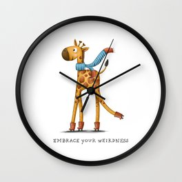 Short Neck Giraffe Illustration Wall Clock