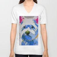 westie V-neck T-shirts featuring Westie Pop Art Dog Art Portrait  by Karren Garces Pet Art