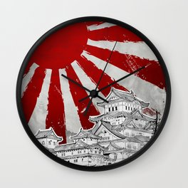 Japanese Palace and Sun Wall Clock