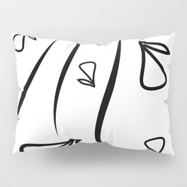 Geometric monochrome pattern from plant black elements on a white background. Pillow Sham