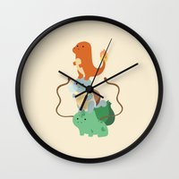 pocket Wall Clocks featuring Pocket Monsters by Jarvis Glasses