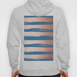 Trendy Stripes Sweet Peach Coral Pink + Saltwater Taffy Teal Hoody