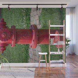 Red East Jordan Iron Works Long Barrel Fire Hydrant Red Fireplug Wall Mural