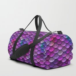 Shimmering Mermaid Scales In Bright Pink Duffle Bag